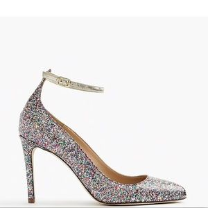 J crew coated glitter pumps with ankle straps
